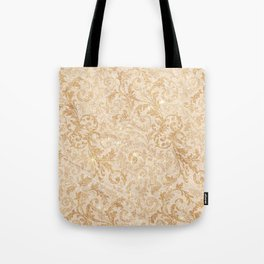 Elegant vintage faux gold glitter antique floral damask Tote Bag