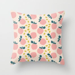 Cute pink apples and yellow leaves pattern Throw Pillow