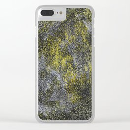 Black and White Ink on Yellow Background Clear iPhone Case
