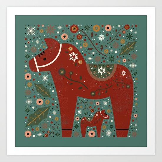 Jolly Dala Horse  Art Print