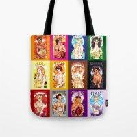 calendar Tote Bags featuring Zodiac Calendar by Rosalie Lingo