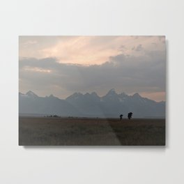 Grand Teton Mountains at Dusk Metal Print