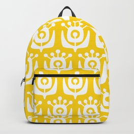 Retro Flower Pattern Yellow Backpack