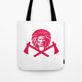 Native American Crossed Tomahawk Mascot Tote Bag