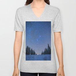 Blue Night Stars Wintry Forest Unisex V-Neck
