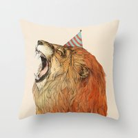 birthday Throw Pillows featuring Birthday Lion by Sandra Dieckmann