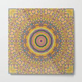 wood festive rainbow mandala Metal Print