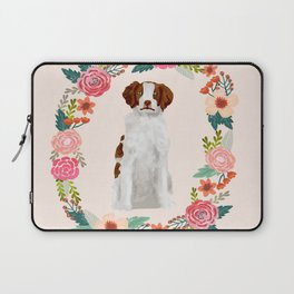 brittany spaniel dog floral wreath dog gifts pet portraits Laptop Sleeve