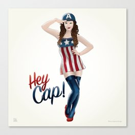 Hey Cap! Pin Up Girl Canvas Print