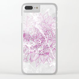 Modern abstract pink watercolor mandala marble pattern Clear iPhone Case