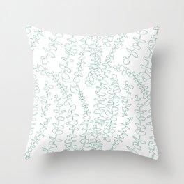 Round Eucalyptus Leaf Toss in White + Sage Throw Pillow
