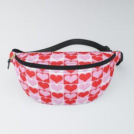 Love Heart Red Pink and White Check Pattern Fanny Pack