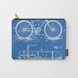 Bike Patent - Bicycle Art - Blueprint Carry-All Pouch