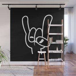 Heavy Metal Devil Horns White Line Wall Mural