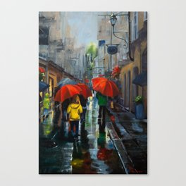 Red Umbrellas and Reflections Canvas Print