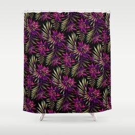 Aechmea Fasciata - Dark Purple / Gold Shower Curtain