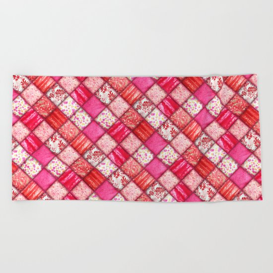 Faux Patchwork Quilting - Pink and Red Beach Towel