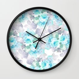 Modern teal gray chic romantic roses flowers Wall Clock