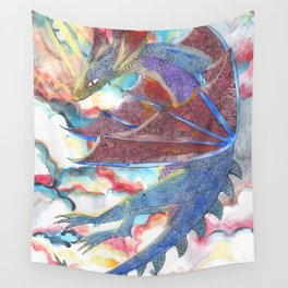 Dragon on the morning sky Wall Tapestry