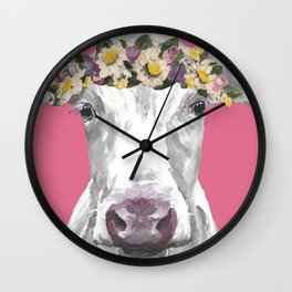 Cute Colorful Cow Art, Flower Crown Cow Wall Clock