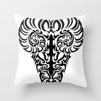 aries Throw Pillows featuring Aries by Mario Sayavedra