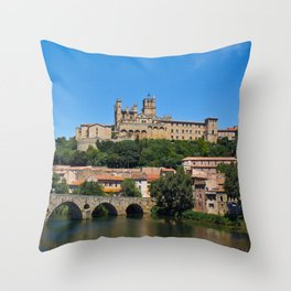Old cathedral and bridge in Beziers, southern France Throw Pillow
