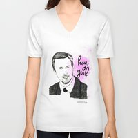 ryan gosling V-neck T-shirts featuring Ryan Gosling by Mariam Tronchoni