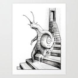 SNAIL WALKING DOWN THE STAIRS Art Print