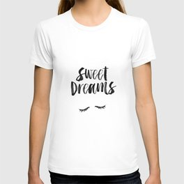 Sweet Dreams black and white contemporary minimalist typography poster home wall decor bedroom art T-shirt