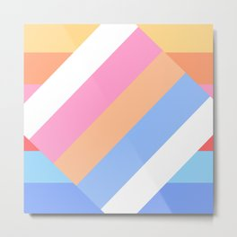 Matted Pastel Rainbow with White Metal Print