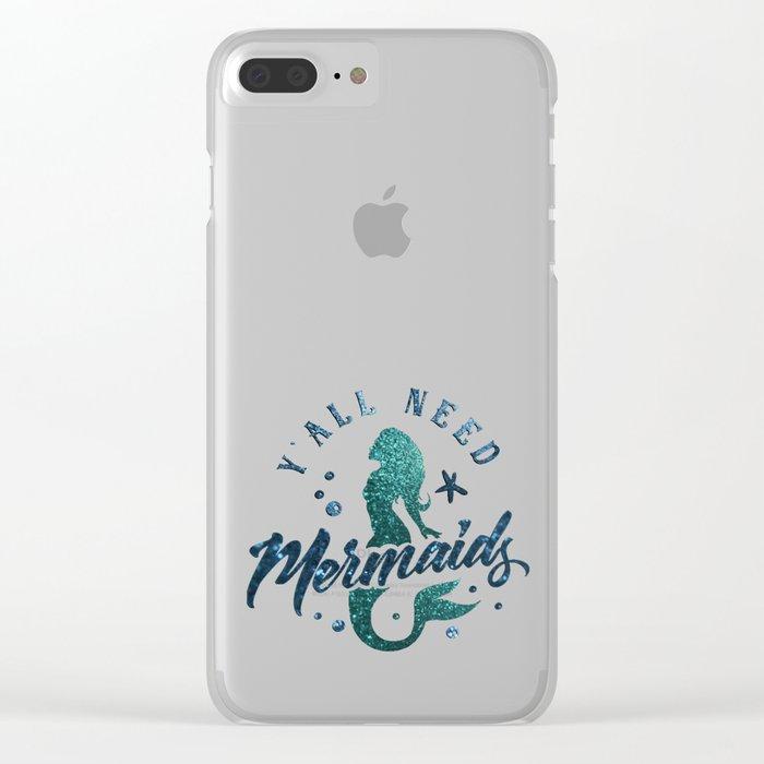Mermaids - aqua and green glitter design Clear iPhone Case