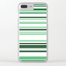 White & green Linies Clear iPhone Case
