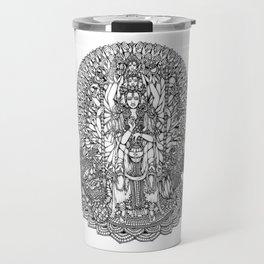 Bodhisattva Avalokiteshvara of Compassion Arms and the Imperial Guardian Lion by Kent Chua Travel Mug