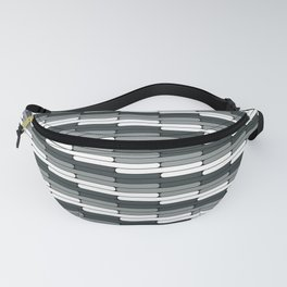 Staggered Oblong Rounded Lines Pattern PPG Night Watch Pewter Green Fanny Pack