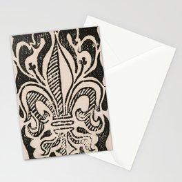 Distressed Fleur-de-Lis Stationery Cards