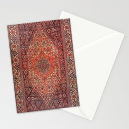 Antique Hamadan 19th Century Authentic Colorful Deep Rich Red Redish Vintage Patterns Stationery Cards