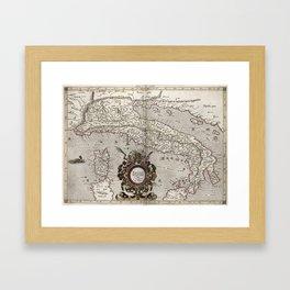Vintage Map of Italy (1618) Framed Art Print