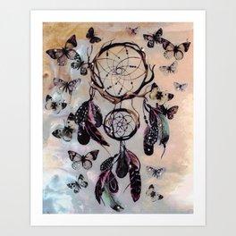 Dreamcatcher wild adventurer butterfly feathered dream Art Print
