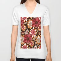 flower pattern V-neck T-shirts featuring Flower Pattern by Eduardo Doreni