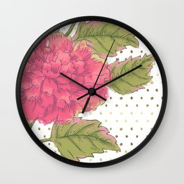 Big Bloom Pink Flower with Gold Polka Dots Wall Clock