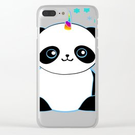 Pandacorn in the Snow Clear iPhone Case
