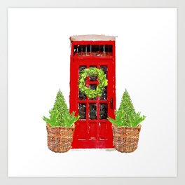 Red Christmas Door with Boxwood Wreath Art Print