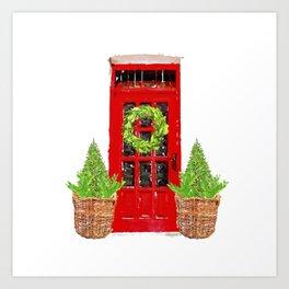 Red Christmas Door with Boxwood Wreath Art Print