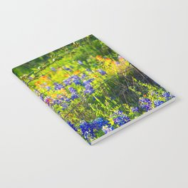 Country Living - Fence Post and Vines Among Bluebonnets and Indian Paintbrush Wildflowers Notebook