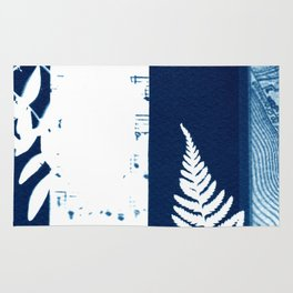 Fragments of the Past (26), art print, collage, blue print, cyanotype print, wall art, wall decor Rug