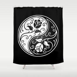 Black and White Yin Yang Roses Shower Curtain
