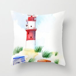 Borkum Lighthouse whimsical watercolor painting Throw Pillow