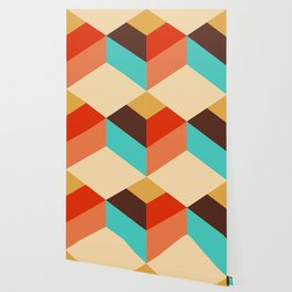 Retro style colorful choco cubes pattern Wallpaper