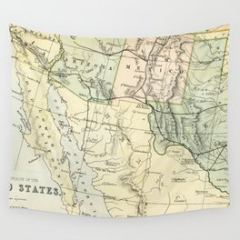 Vintage Map of the South West Of The United States Wall Tapestry