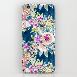 NAVY SO LUSCIOUS Colorful Watercolor Floral iPhone Skin